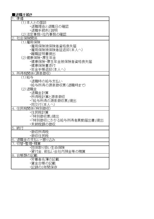 退職手続きリスト