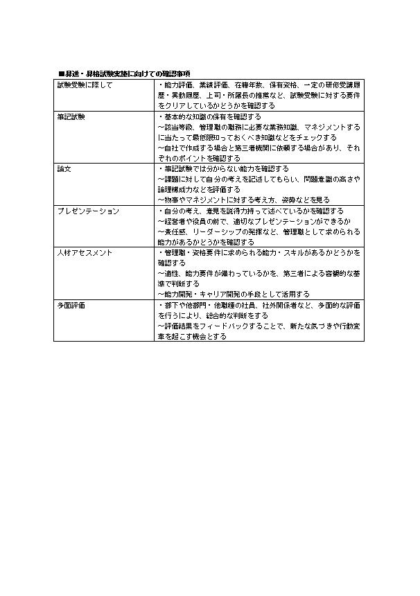 昇進・昇格試験実施に向けての確認事項