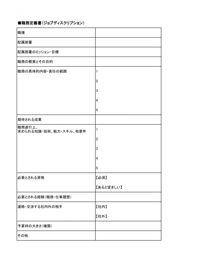 職務定義書(ジョブディスクリプション)