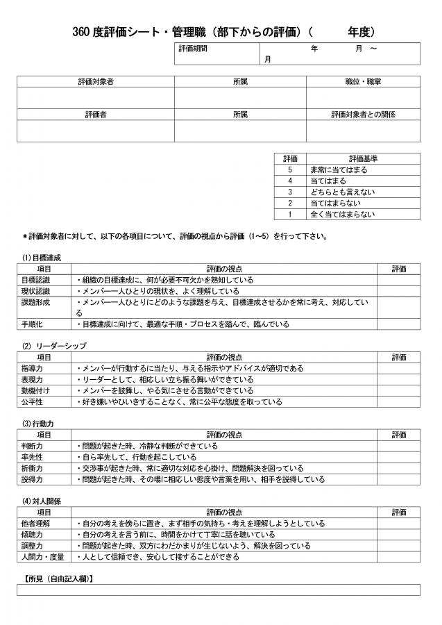 360度評価シート(管理職評価用)部下からの評価用