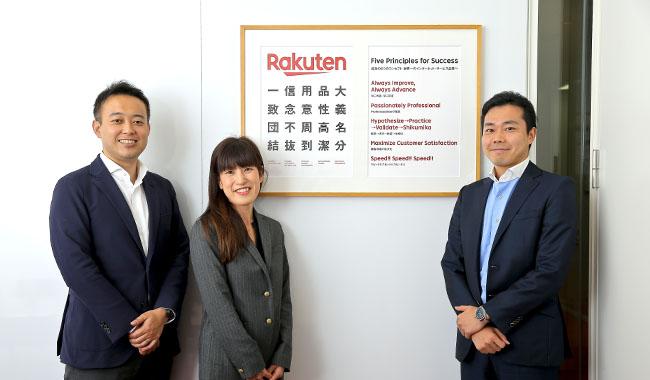 楽天本社にて。写真左より、研究所代表の日髙 達生さん、メンバーの米森千尋さん、大野 大さん photo