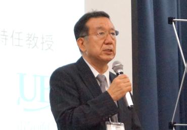 電気通信大学特任教授・竹内利明氏によるスピーチの様子