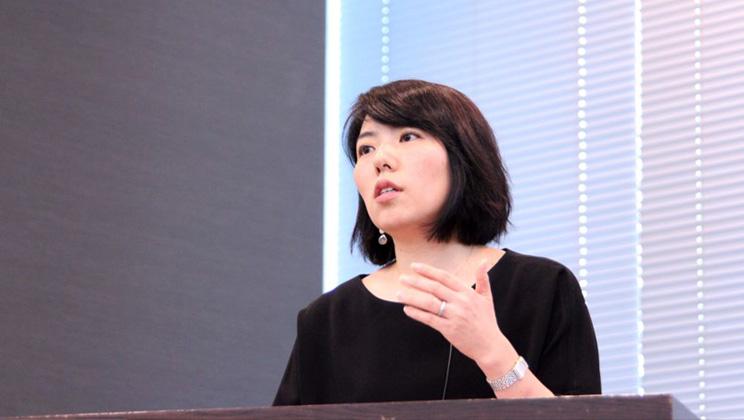 日本GE株式会社人事部人事部長 谷本美穂氏 スピーチの様子