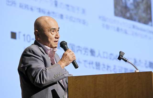 三菱ケミカルホールディングス代表執行役社長 越智仁氏による講演の様子