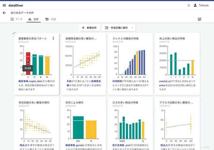 データビークルのデータ分析自動化ツール「dataDiver」の画面イメージ