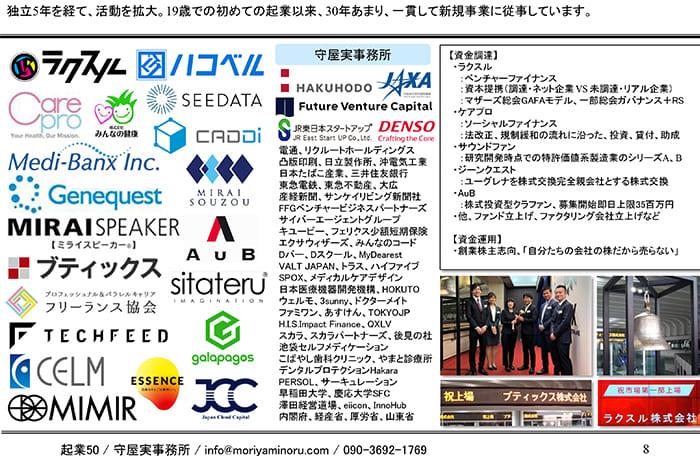 守屋さんが自己紹介で使うスライド。19歳から30年余り新規事業でかかわってきた会社の一覧