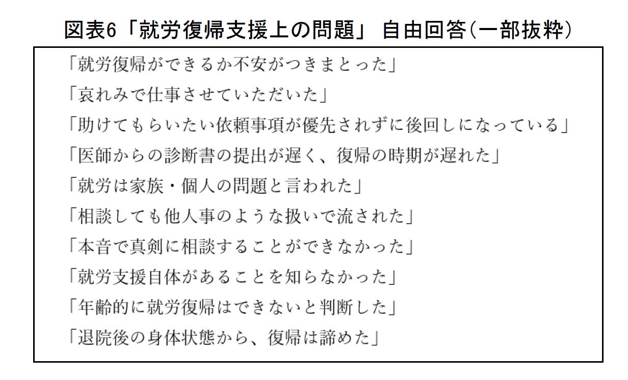 図表6 「就労復帰支援上の問題」自由回答(一部抜粋)
