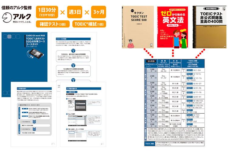 「カシオ英語学習プログラム」はTOEIC®テスト500点を突破するために必要な 語彙、文法、TOEIC®演習の三つのカテゴリーをバランス良く取り入れている