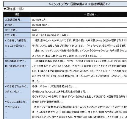 『インストラクター資格・合格体験記』・総合電気企業/人事部